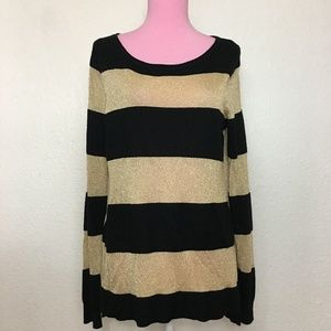 Vince Camuto metallic wool knitted stripe sweater